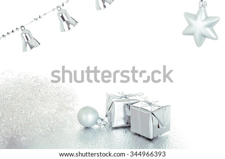 Silver christmas decoration - isolated over white - stock photo