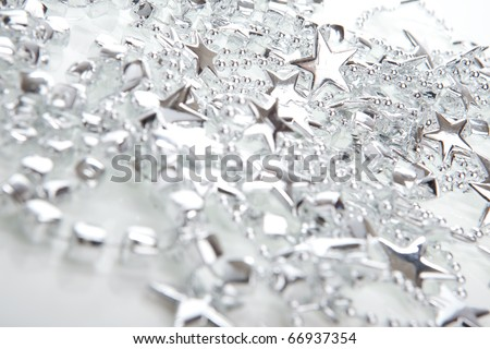 Silver Christmas decoration- stars, isolated over white - stock photo