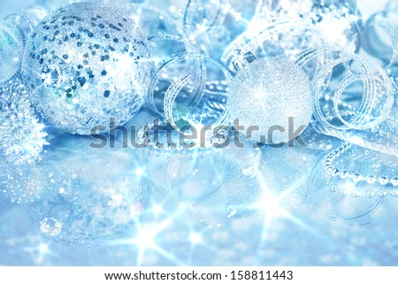 Silver Christmas decorations background - stock photo