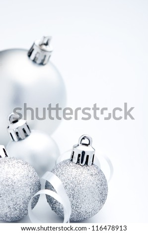 Silver christmas festive decoration bauble with copy space - stock photo