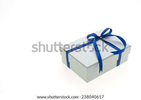Silver christmas gift box isolated on white background - stock photo