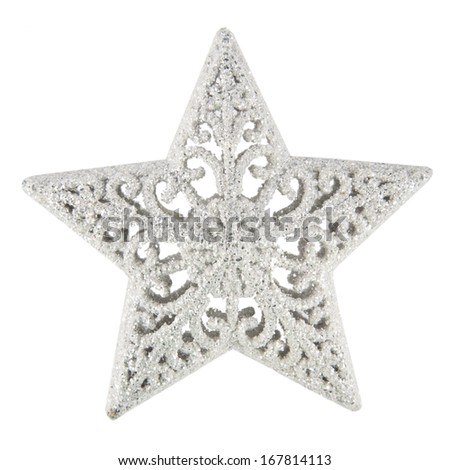 silver Christmas star. isolated on white  - stock photo