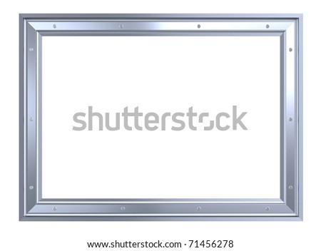 Silver-chrome frame isolated on white background. Computer generated 3D photo rendering. - stock photo