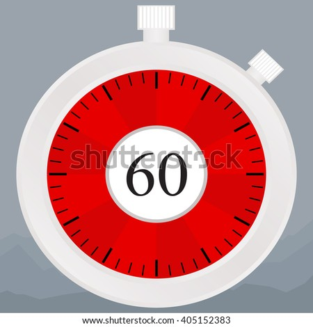 Silver chronometer set on 60 seconds - stock photo