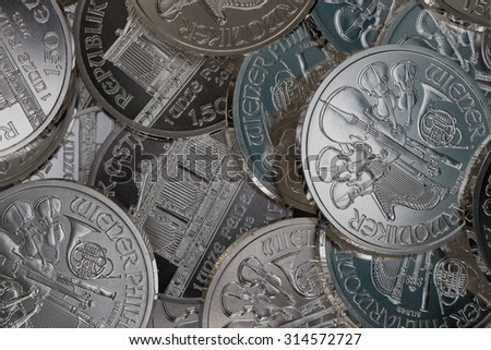 Silver Coins Vienna Philharmonic 1oz 2013 - stock photo