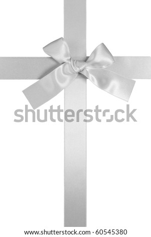 silver color vertical cross ribbon with bow isolated on white background - stock photo