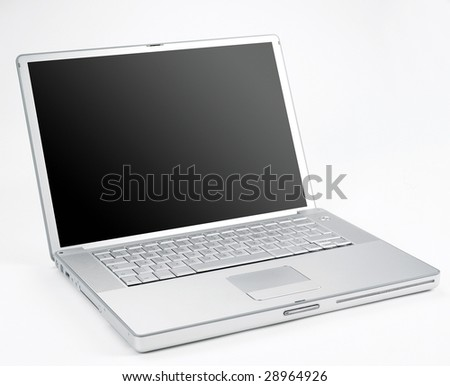 Silver coloured designer open lap top from a low 3/4 angle - stock photo