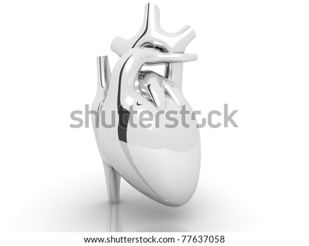 silver coloured  human heart  isolated on white background - stock photo