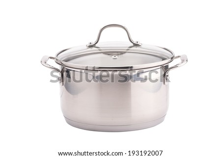 Silver cooking pot on white background - stock photo