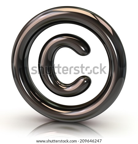 Silver copyright icon - stock photo