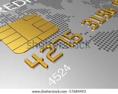 Silver credit card, macro detail 3D render - stock photo