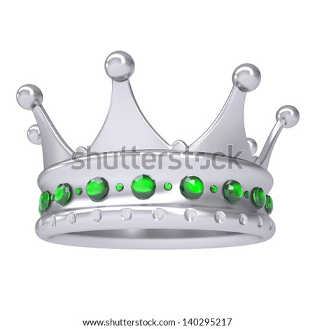 Silver crown decorated with green sapphires. Isolated render on a white background - stock photo