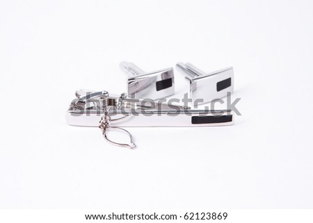 Silver cuff-link - stock photo