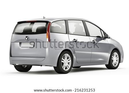 Silver 3D Car - stock photo