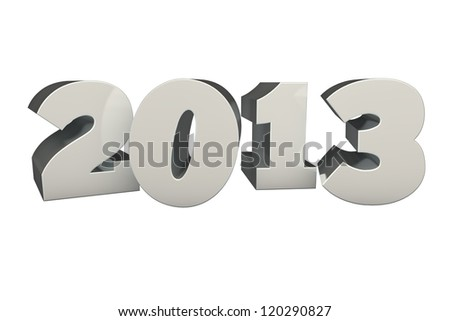 Silver 3D 2013 isolated on white background - stock photo