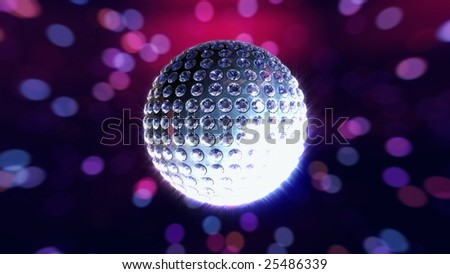 Silver disco ball studded with white diamonds on a multi-colored reflective background - stock photo