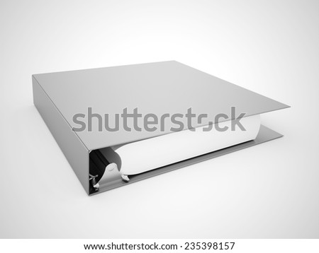 Silver documents folder book rendered on white background - stock photo