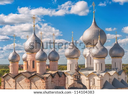 Silver domes of traditional russian orthodox church in Rostov Kremlin, Golden Ring, Russia - stock photo