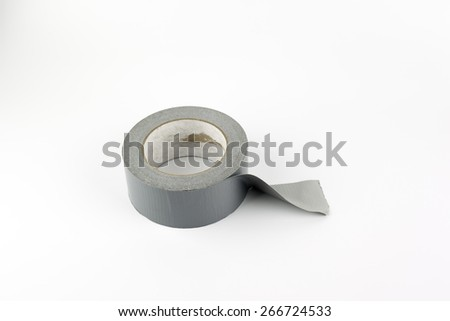 Silver duct tape on a white background. - stock photo