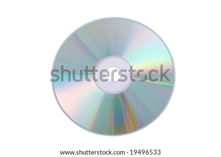 Silver DVD isolated on a white background - stock photo