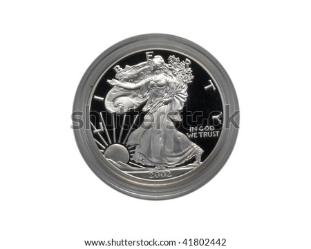 Silver Eagle proof coin, isolated - stock photo
