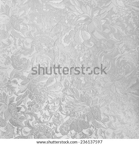Silver floral ornament brocade textile pattern - stock photo