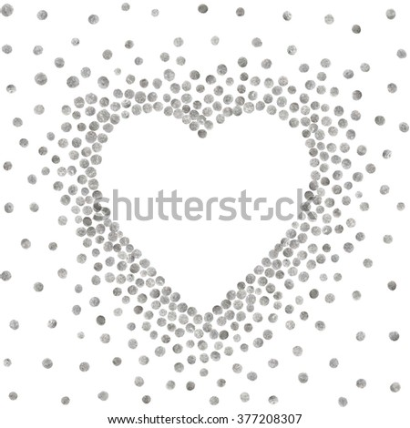 Silver frame in the shape of heart on white background. Pattern of golden acrylic confetti. Design element for festive banner, card, invitation, label, postcard, vignette. Raster copy of vector file. - stock photo