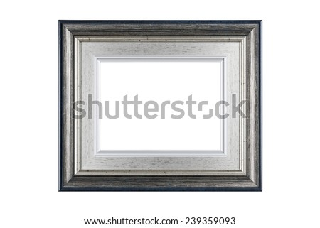 Silver frame isolated on white background with clipping path. - stock photo
