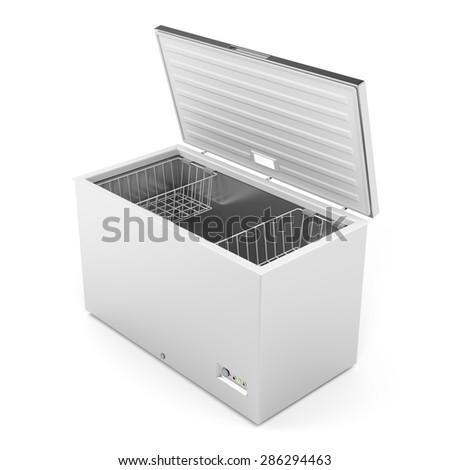 Silver freezer on white background - stock photo