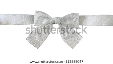 silver gift bow with clipping path - stock photo
