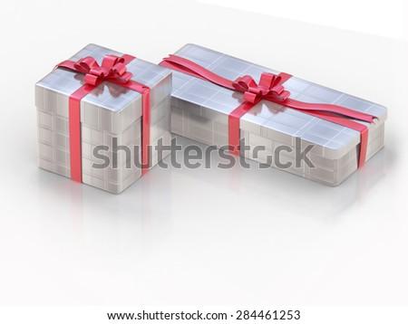 Silver gift box on white background  - stock photo