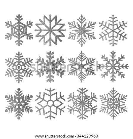 Silver glitter snowflakes - stock photo