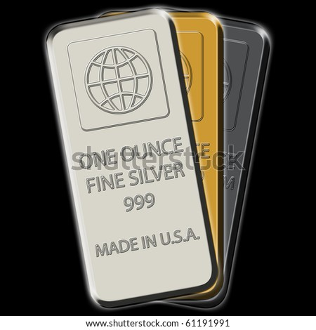 Silver, gold and platinum bars 3-pack on black canvas - stock photo