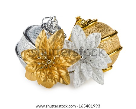 silver golden christmas decoration - stock photo