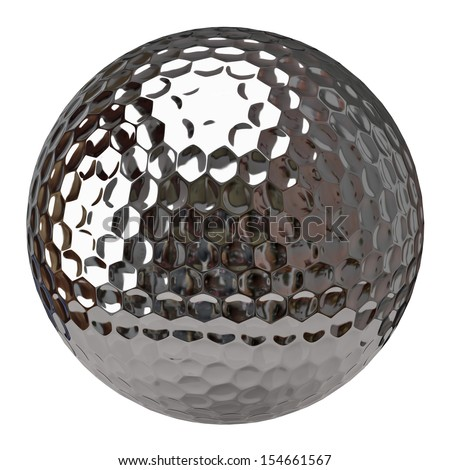 Silver golf ball isolated on white background - stock photo