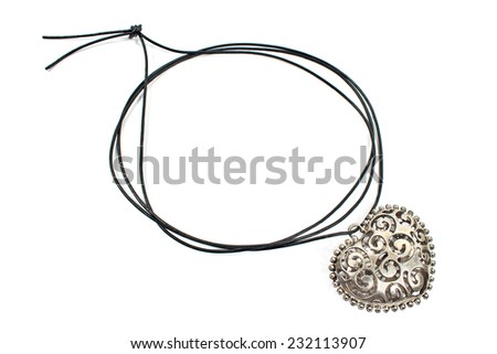 Silver heart pendant necklace isolated on white  - stock photo