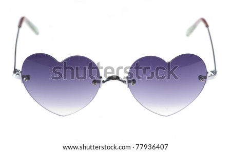 silver heart shape sunglasses isolated on a white background - stock photo