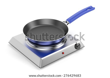 Silver hot plate and frypan on white background - stock photo
