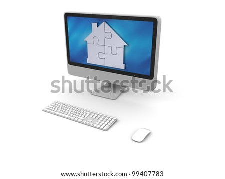Silver house symbol made of four puzzle pieces on elegant computer screen - stock photo