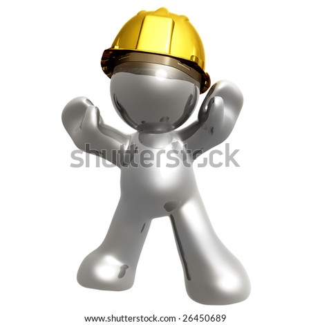 Silver icon guys with under construction helmet - stock photo
