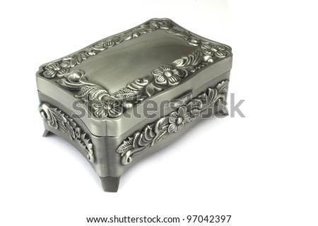 Silver jewelry box on white background - stock photo