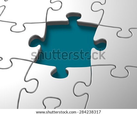 Silver jigsaw pieces with one missing puzzle - stock photo