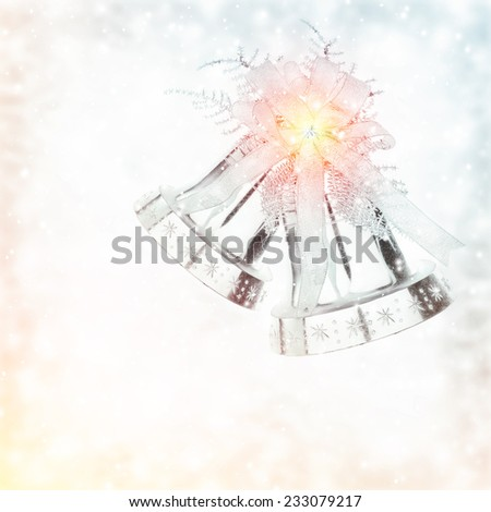 Silver jingle bell, Christmas tree ornament and holiday decoration isolated on white background in colorful pastel blurry frame - stock photo