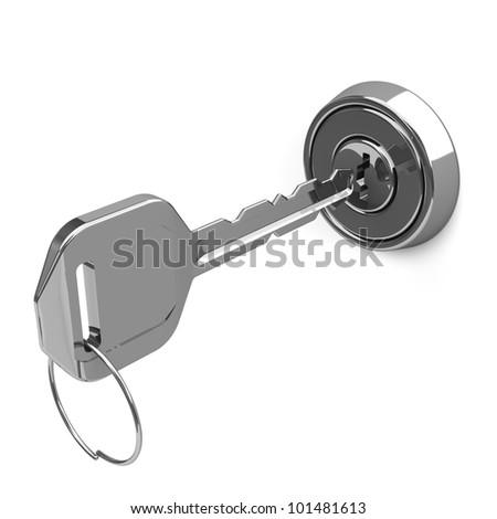 Silver Key And Key Hole - stock photo