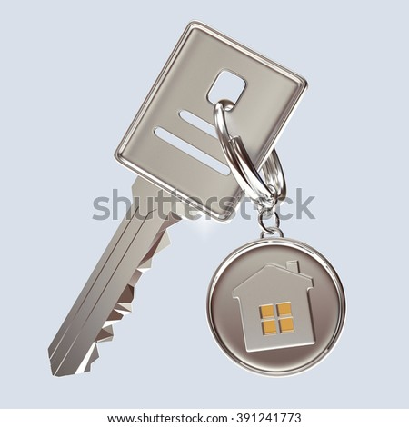 Silver key and round key chain with house on blue background - stock photo