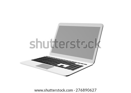 Silver laptop. 3d Illustration Isolated White Background - stock photo