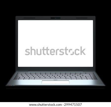 Silver laptop on black background with clipping path included. - stock photo