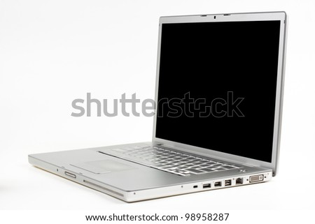 silver laptop side view with black screen isolated on white background - stock photo