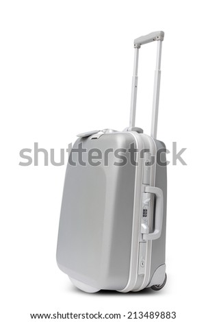 silver large polycarbonate suitcase isolated on white background with clipping path - stock photo