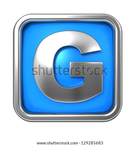 Silver Letter in Frame, on Blue Background - Letter G - stock photo